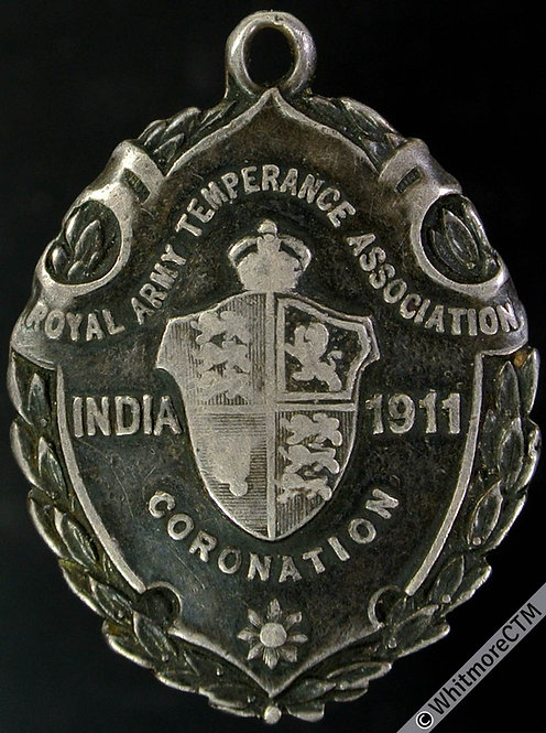 India 1911 Royal Army Temperance Association Coronation Medal 33x24mm - Silver