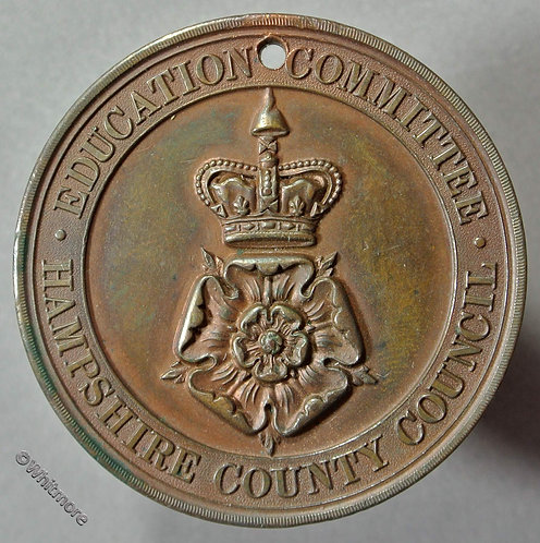 Hampshire Education Committee School Attendance Medal 39mm D820 Bronze  Pierced