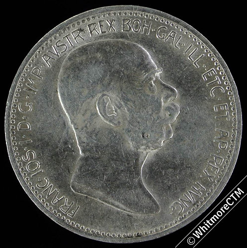 1908 Austria 1 Korona 60th jubilee Franz Joseph I