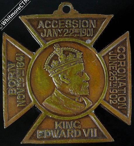 1902 Reigate Coronation Medal 24mm WE4600D Cruciform brass