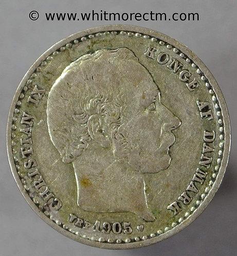 1905 Denmark Y12 25 Ǿre coin