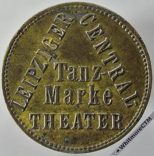 Germany Leipzig 23mm Central Theatre Tanz-Marke obv. Uniface. Brass