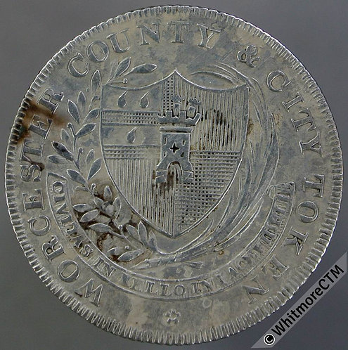 19th Century Shilling Worcester 1 1811 County & City Token Arms facilitate trade