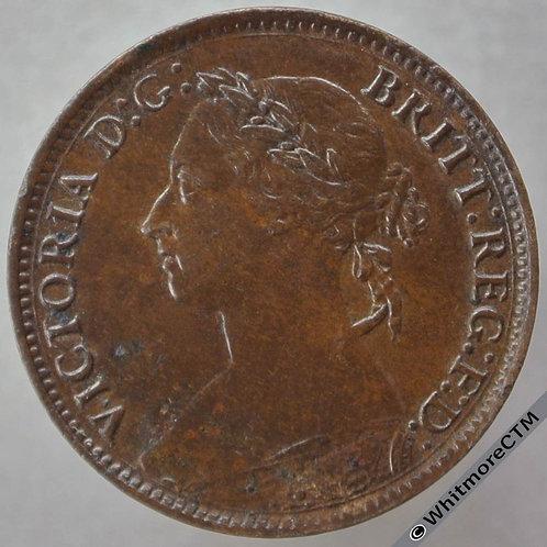 1884 British Bronze Farthing Victoria Bun Head.