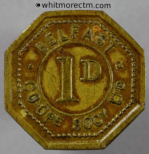 Co-Operative Society Token Belfast 21mm 1D, No maker's name