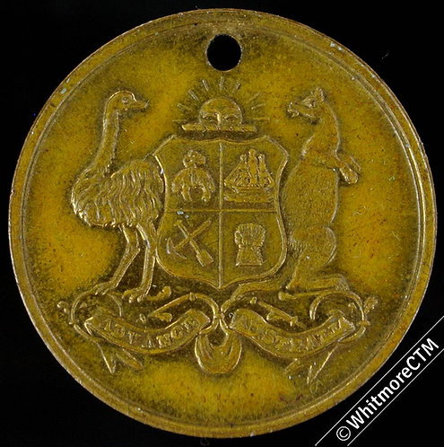 1886 Indian & Colonial Exhibition Medal 24mm B3211 Gilt brass