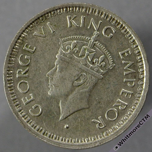 1944B British India Quarter Rupee obv - Y55b No serif S&W 9.93