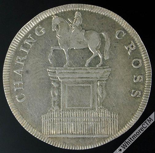 19th Century Shilling London 11 Charing Cross.  Equestrian statue. Rare