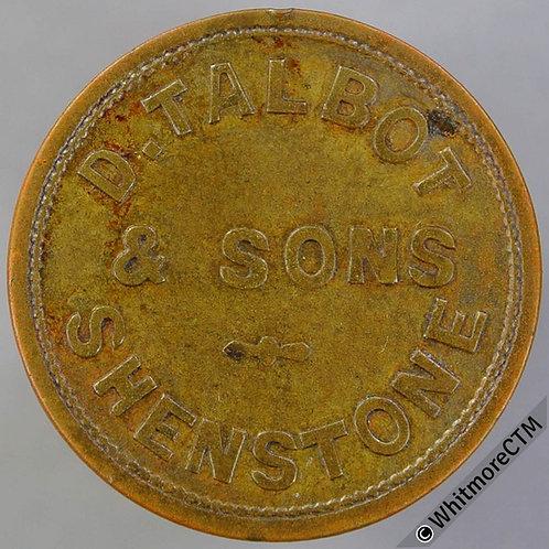 Advertising Token Shenstone Kidderminster 26mm B.Talbot & Sons. - Uniface bras