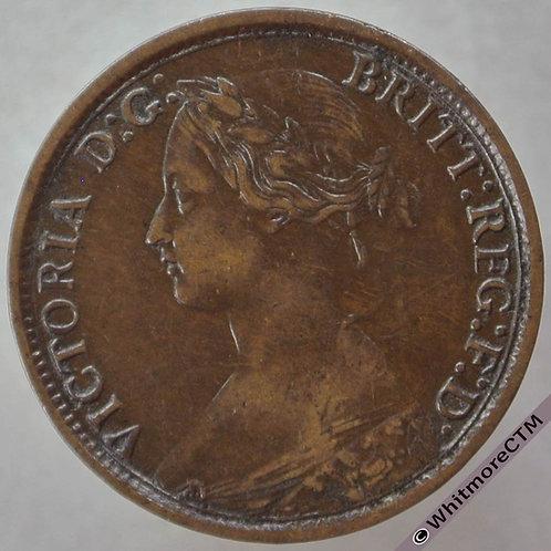 1862 British Bronze Farthing Victoria Bun Head