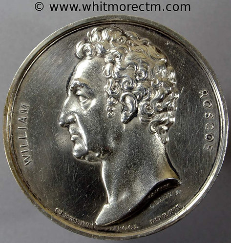 1831 Death of William Roscoe Medal 47mm Silver Rare B1532 By Clint & Gibson