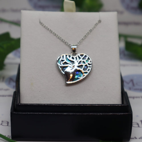 Paua Shell - Tree of Life Devoted Heart Necklace