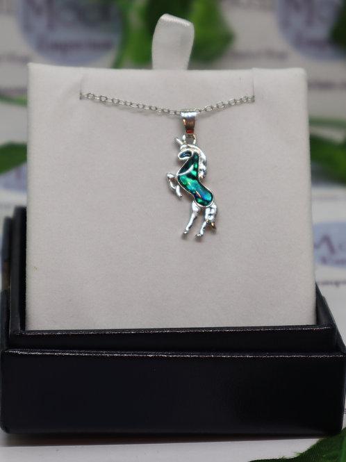 Paua Shell Unicorn Necklace