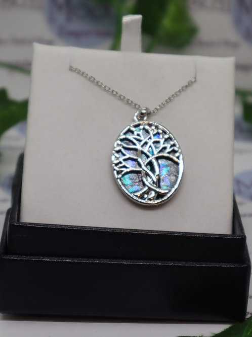 "Paua Shell Tree of Life ""Twist"" Necklace"