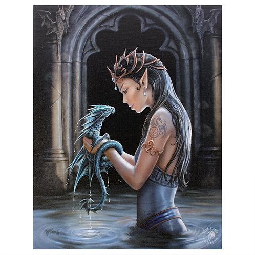 Water Dragon (Anne Stokes) Canvas Print 19x25cm