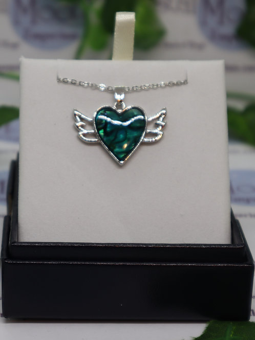 Paua Shell Winged Heart Necklace