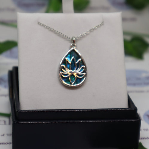 Paua Shell - Teardrop Framed Lotus Blossom Necklace