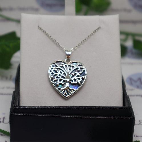 Paua Shell - Tree of Life Coy Heart Necklace