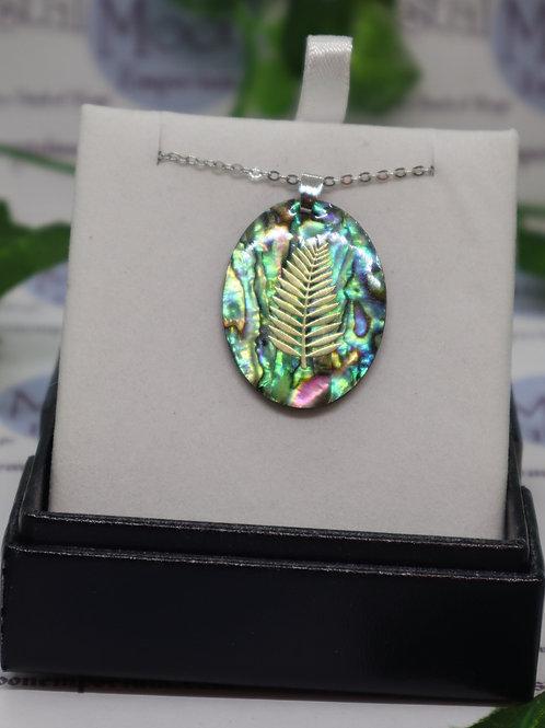 Paua Shell -  Golden Fern Leaf Necklace - Oval