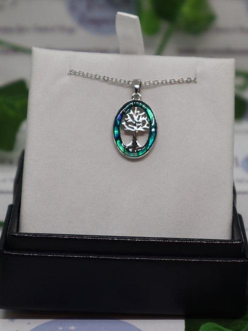 Paua Shell - Tree of Life Oval Frame - Necklace,