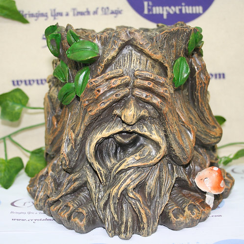 Green Man See, Speak, Hear No Evil Plant Pot