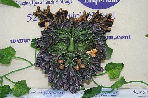 Green Man Face Plaque - Small