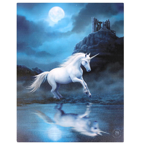 Moonlight Unicorn (Anne Stokes) Canvas Print 19x25cm