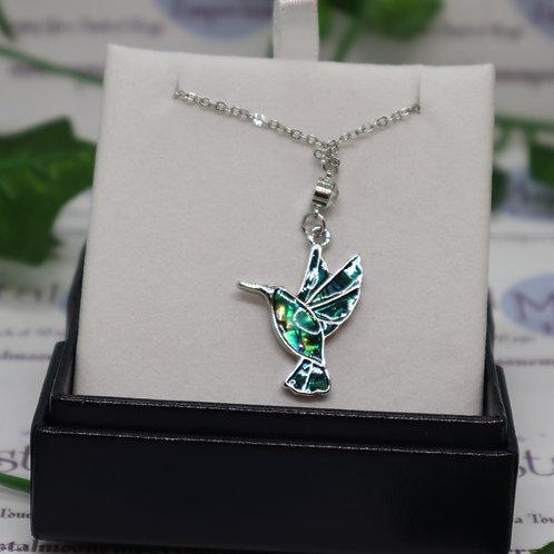 Paua Shell Hummingbird Necklace