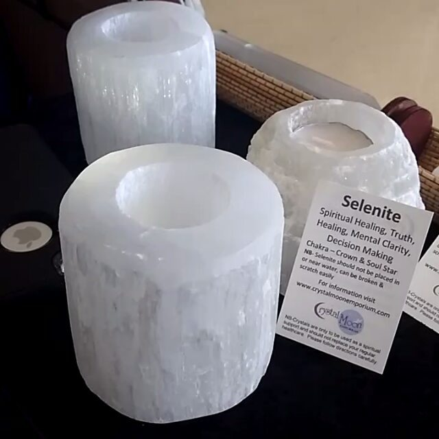 How BEAUTIFUL are our Selenite Candle Holders lit up_ _PM Link in bio to order _3 #selenite #crystal