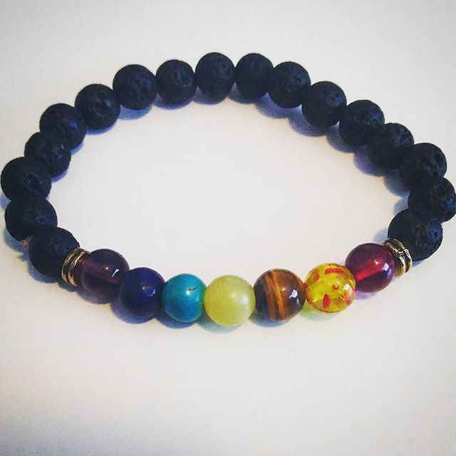 LOVE my Chakra Lava Bead Bracelet _D one side has Rosemary to help with pain + other side has Sage t