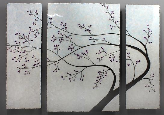 NATURE 5 pearl tree -  three panels