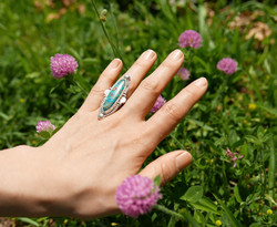 Turquoise Ring with a textured band