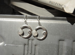 Moon Earrings with raibow moonstones
