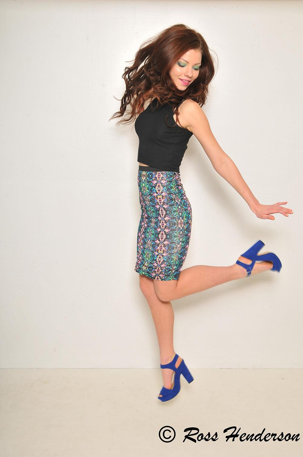 Fashion model jumping
