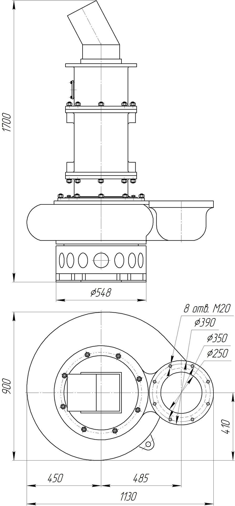 Габаритный чертеж насоса DARGFOW HY85HC.