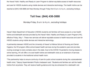 Hotline for Health Questions and Telehealth Visits