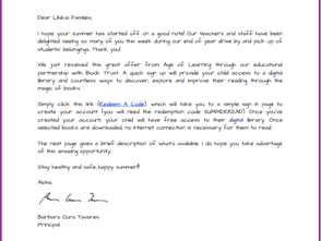 Letter from Our Principal: FREE Summer Access to ReadIQ's Digital Library