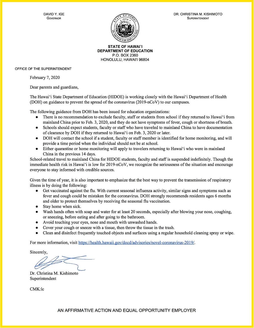 April 7th COVID-19 Letter