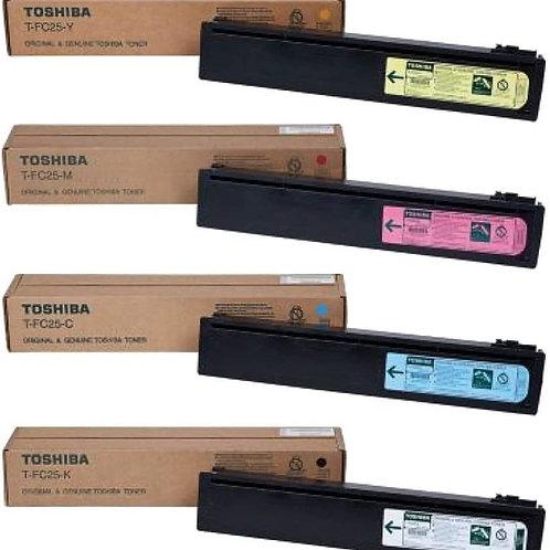 Toshiba TFC25K TFC25C TFC25M TFC25Y e-Studio Toner Cartridge Set