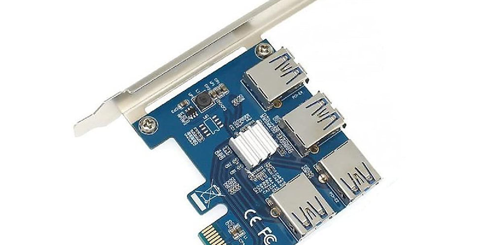 GadgetKarePro® 1 to 4 Port PCI-E Riser Extender Multiplier Card PCI-E 1X to 4