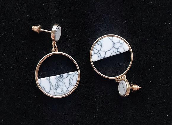Marbled Circle Geo Earrings
