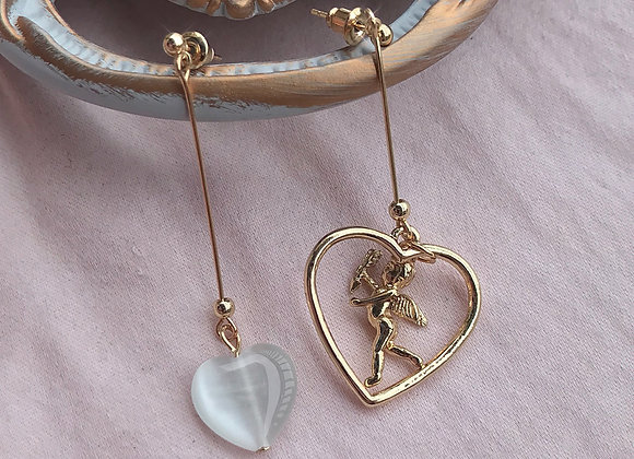 White Heart Cupid Drop Earrings