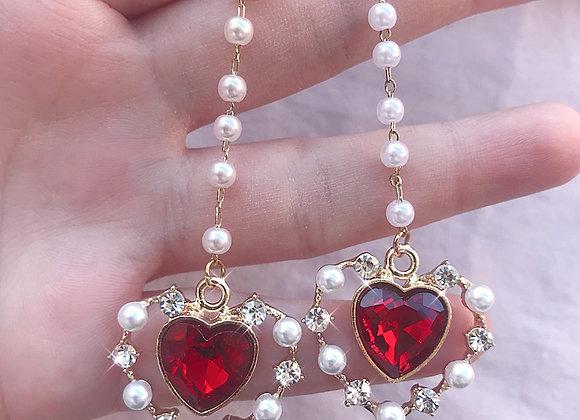 Royal Heart Drop Dangle Earrings