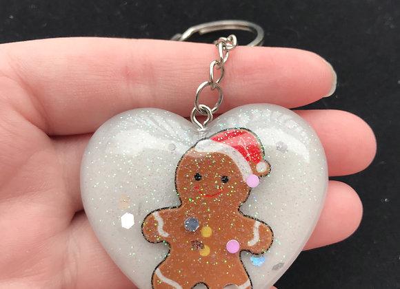 Gingerbread Man Glitter Sweetheart Keychain