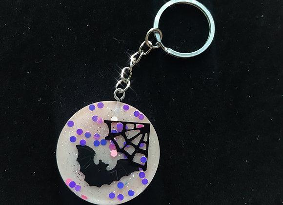 Pink Confetti Bat Circle Keychain