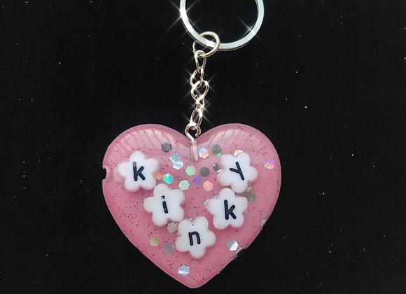 """kinky"" Glitter Heart Keychain"