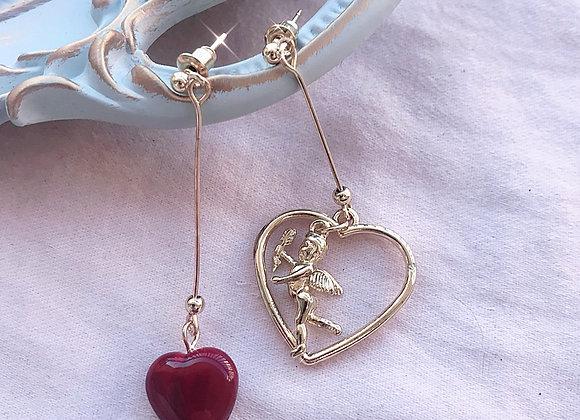 Cupid and Heart Dangle Earrings