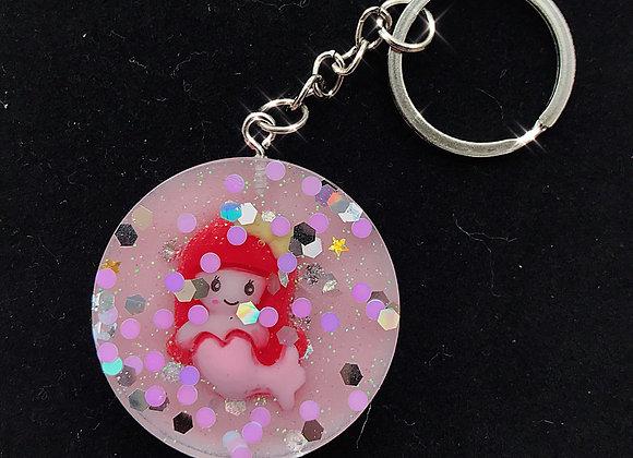Glitter Mermaid Circle Keychain