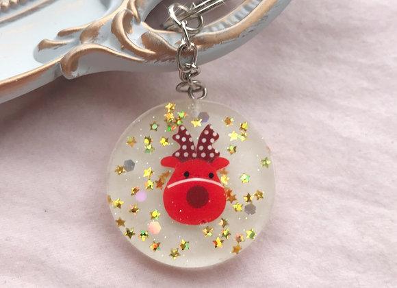 Reindeer Glitter Good Luck Charm Keychain