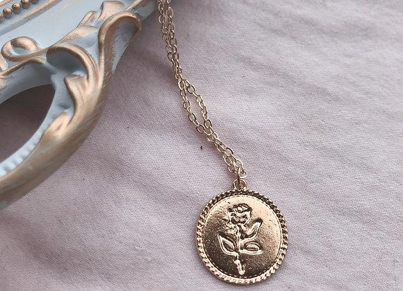 Rose En Circle Stamp Necklace